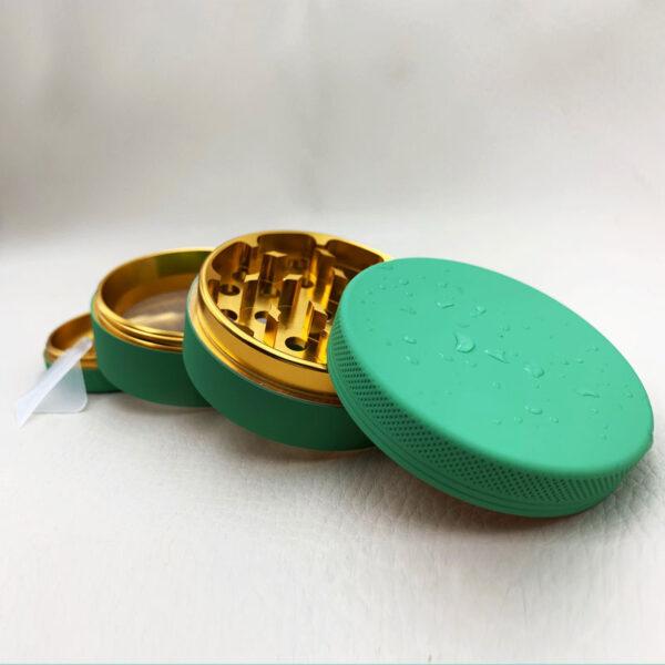 Kräutermühle Silikonbeschichtet mit Gold / Grinder / Premium CBD / Feines Kraut e.U. / Gold / Rosa / Blau / Grün