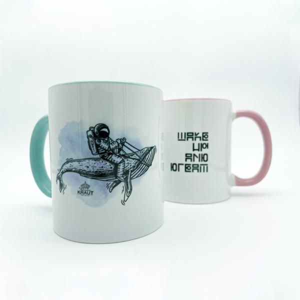 Feine Tassen | Keramiktasse rosa türkis | Wake up and dream